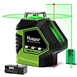 Huepar Self-Leveling Green Laser Level Cross Line with 2 Plumb Dots Laser Tool -360-Degree...
